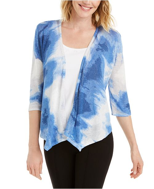 Alfani Draped Printed Cardigan, Created for Macy's