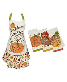 Pumpkin Spice Tablecloth and Apron, Set of 4