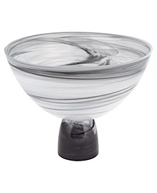 Milky Way Footed Alabaster Glass Centerpiece Bowl