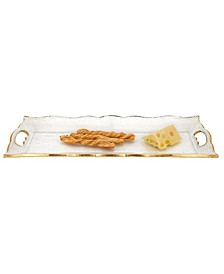 "Hand Decorated Leaf Scalloped Edge 7"" x 20"" Tray"