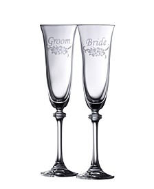 Floral Bride and Groom Liberty Flute Set