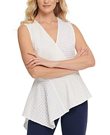 Cotton Mixed-Media Peplum Top