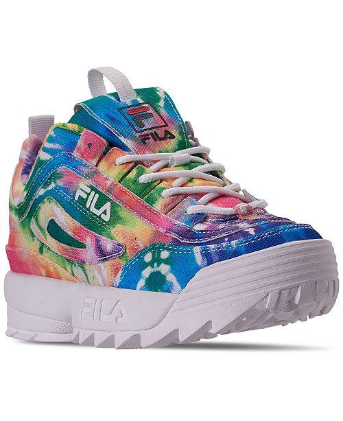 Fila Big Girls' Disruptor II Tie Dye Casual Sneakers from Finish Line