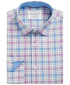 Con.Struct Men's Slim-Fit Non-Iron Performance Stretch Blue & Pink Plaid Cooling Comfort Dress Shirt