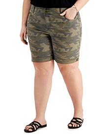 Plus Size Camo-Print Bermuda Shorts, Created for Macy's