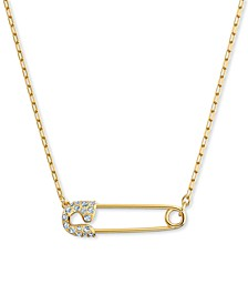 "Gold-Tone Pavé Safety Pin Pendant Necklace, 14-7/8"" + 2"" extender"