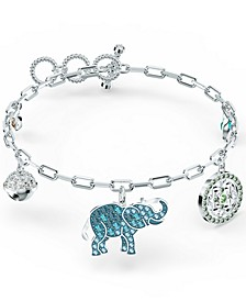 Silver-Tone Crystal Elephant Charm Link Bracelet
