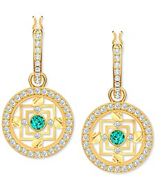 Gold-Tone Crystal Mandala Charm Huggie Hoop Earrings