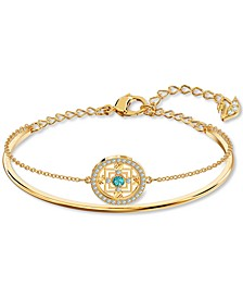 Gold-Tone Crystal Mandala Double-Row Bangle Bracelet