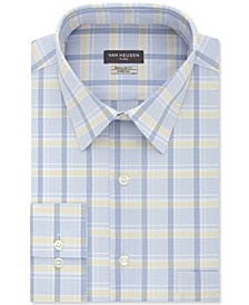 Men's Classic/Regular-Fit Wrinkle-Free Performance Stretch Flex Collar Check Dress Shirt