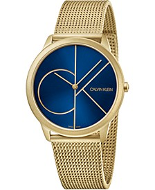 Men's Minimal Gold-Tone PVD Stainless Steel Mesh Bracelet Watch 40mm