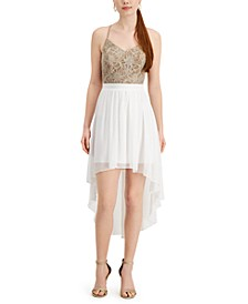 Juniors' Lace & Chiffon High-Low Dress