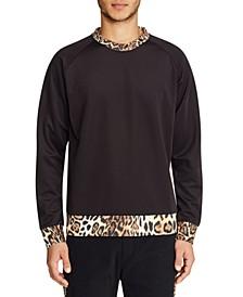 Men's Leopard Contrast Crew Neck Pullover