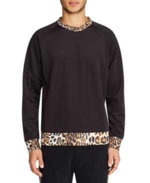 Tallia Men's Leopard Contrast Crew Neck Pullover