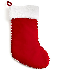 Holiday Lane Red Christmas Stocking with Plush Faux Fur White Cuff, Created for Macy's
