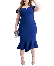 Trendy Plus Size Cold-Shoulder Midi Dress