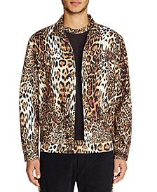 Men's Slim Fit Leopard Trucker Jacket