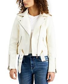 Belted-Hem Moto Jacket