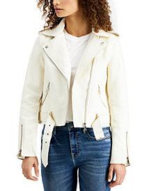 Vigoss Jeans Belted-Hem Moto Jacket