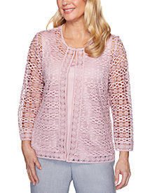 Alfred Dunner Petite Primrose Garden 2-For-1 Lace Top