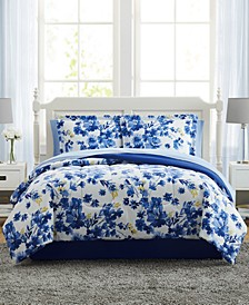 Blue Watercolor Floral King 8PC Comforter Set