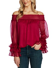 Ruffled Bell-Sleeve Off-The-Shoulder Top