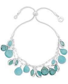 Silver-Tone Shaky Stone Bolo Bracelet