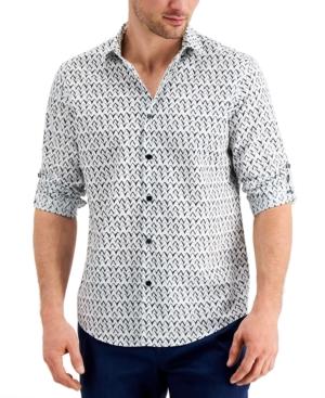 Alfani Men's Classic-Fit Stretch Ikat Chevron-Print Utility Shirt, Created for Macy's