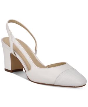 Marc Fisher Women's Laynie Slingback Pumps Women's Shoes In White, White Lizard
