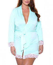 Plus Size Alluring Knit Ultra Soft Wrap Robe, Online Only