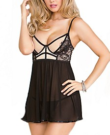 Women's Stretch Eyelash Lace Babydoll Chemise Nightgown, Online Only