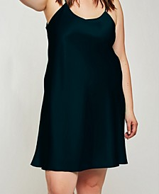 Plus Size Elegant Satin Chemise Nightgown, Online Only