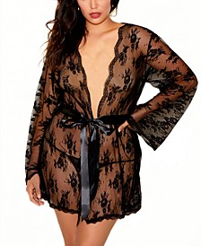 Women's Full Figure All Over Scalloped Lace Wrap