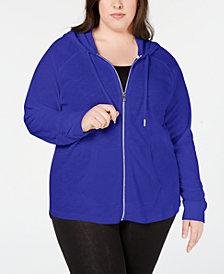 Calvin Klein Performance Plus Size Ruched-Sleeve Zip Hoodie