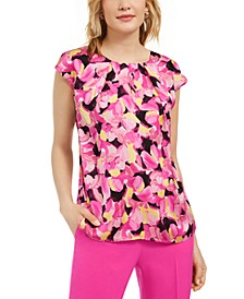 Floral-Print Cap-Sleeve Keyhole Woven Top