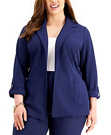Michael Michael Plus Size Belted Roll-Tab Jacket