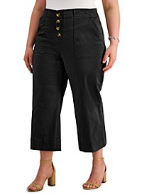 INC Plus Size Button-Front Culotte Pants, Created for Macy's