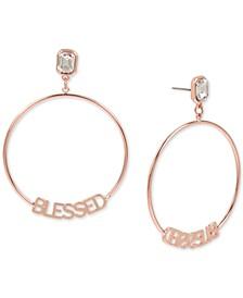 Rose Gold-Tone Crystal Blessed Drop Hoop Earrings