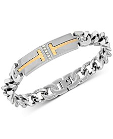 Men's Diamond Two-Tone ID Plate Chain Bracelet in Stainless Steel & 18k Gold