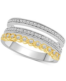 Diamond Triple-Row Two-Tone Band (1/3 ct. t.w.) in 14k Gold & White Gold