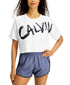 Calvin Klein Performance Brushed-Logo Relaxed Cropped T-Shirt