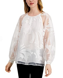 Petite Floral-Burnout Raglan-Sleeve Top, Created for Macy's