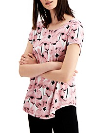 Petite Floral-Print T-Shirt, Created for Macy's