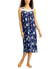 Floral-Print Lace-Trim Knit Nightgown, Created for Macy's