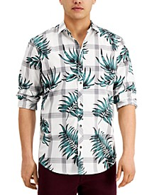 INC Men's Regular-Fit Plaid Botanical-Print Shirt, Created for Macy's