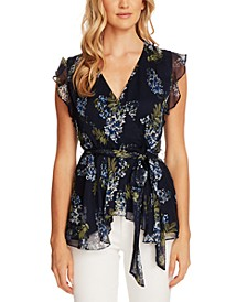 Vince Camtuo Petite Ruffled Floral-Print Top