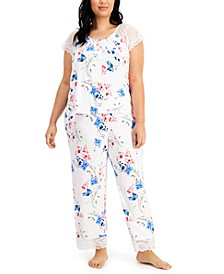 Plus Size Lace-Trim Pajama Set, Created for Macy's