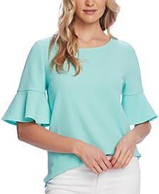 Textured Bell-Sleeve Top