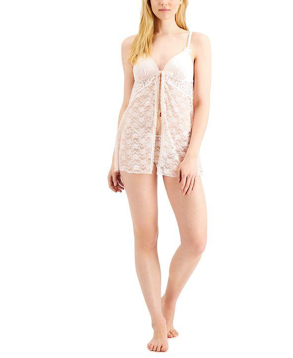 Linea Donatella Stretch Lace Babydoll Chemise Nightgown