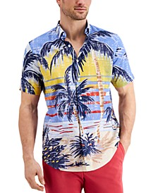 Men's Classic-Fit Stretch Tropical-Print Shirt, Created for Macy's